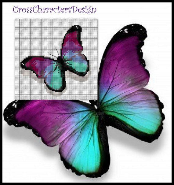 Cross stitch pattern Violet papillon Instant by NeniDesign, $3.50