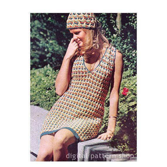 Crochet Dress Pattern Vintage Cap & Dress by DigitalPatternShop