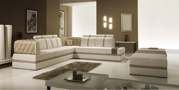Modern Beige and Brown bonded Leather Sectional Sofa - modern - Sectional Sofas - Los Angeles - EuroLux Furniture $2,380