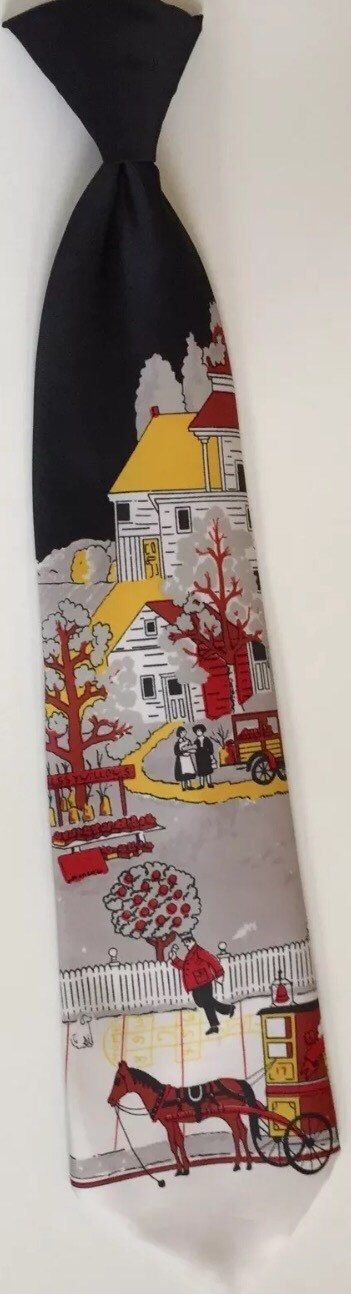 Colonial scene tie, men's vintage necktie, Sears Snapper clip-on tie, horse and buggy necktie, men's suit accessory, snap on tie,l by SweetVintageRoad on Etsy https://www.etsy.com/listing/502581353/colonial-scene-tie-mens-vintage-necktie