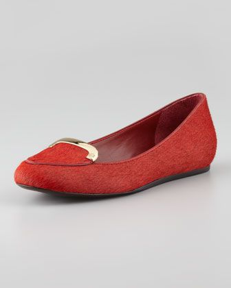 Jess Calf Hair Smoking Slipper, Brick by Tory Burch at Neiman Marcus.