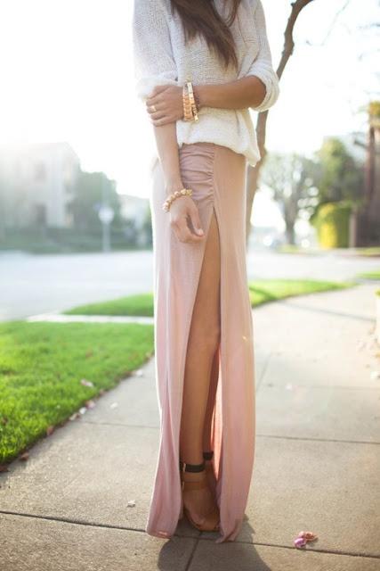 long pink skirt, daring slit, soft cream sweater, gold jewelry ...perfect!