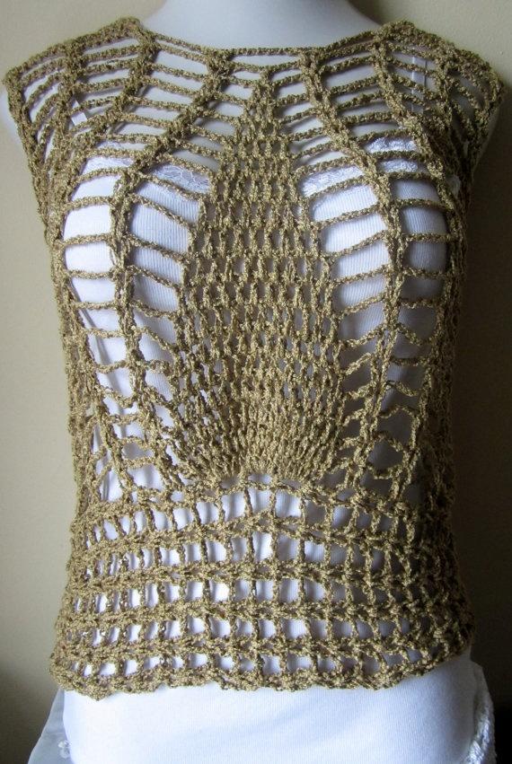 Crochet top pineapple lace design overlay top by Elegantcrochets, $57.00