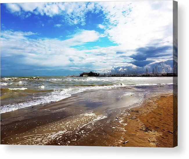Rimini After The Storm Acrylic Print by Marina Usmanskaya for home decor.    All acrylic prints are professionally printed, packaged, and shipped within 3 - 4 business days and delivered ready-to-hang on your wall. Choose from multiple sizes and mounting options.  Сoast of the Adriatic Sea in Rimini italy after the storm.  #marinaUsmanskayaFineArtPhotography #homedecor #artforhome #Italy #Rimini #Travel #seascape