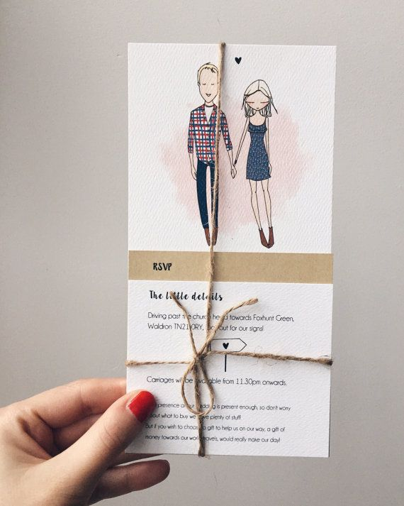 With Our Photograph On The Top. Quirky Wedding Invitations Personalised By  Blankaillustration