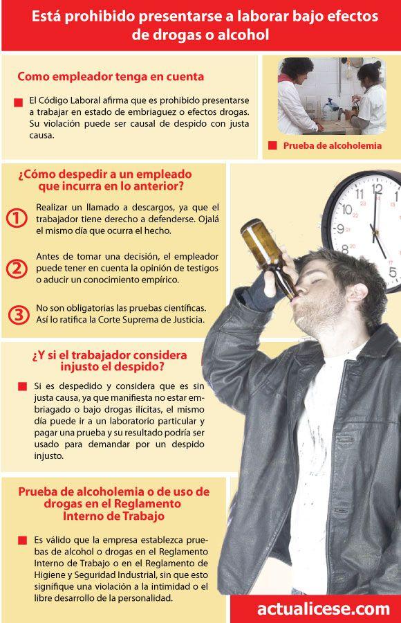 [Infografía] Laborar bajo los efectos de drogas o alcohol está prohibido