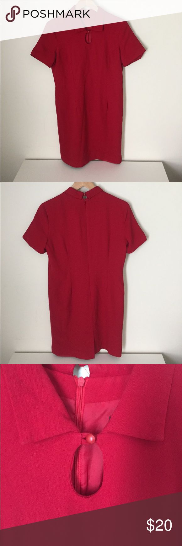 Vintage red dress with keyhole neck Vintage red dress with keyhole neckline. Size is small petite. Polyester, one pick but in good overall condition. Dresses Mini