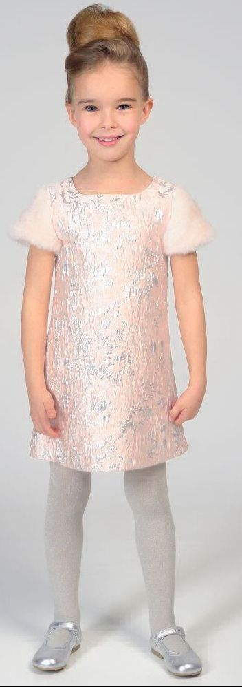 SALE !!! CHARABIA Girls Designer Pink Jacquard Party Dress. Perfect for a Special Occasion or Birthday Party Dress, this gorgeous pale pink and metallic silver jacquard dress by Charabia has super soft furry sleeves. Now on Sale. #kidsfashion #fashionkids #girlsdresses #childrensclothing #girlsclothes #girlsclothing #girlsfashion #cute #girl #kids #fashion