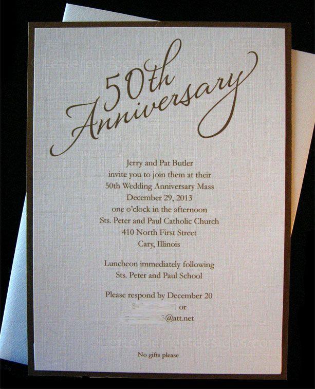 10 best 50th Anniversary Ideas images on Pinterest 50th birthday - anniversary invitation template
