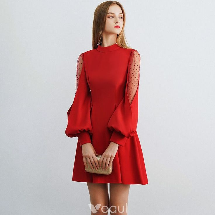 Modest / Simple Burgundy See-through Homecoming Graduation Dresses 2019 A-Line / Princess High Neck Puffy Long Sleeve Short Ruffle Backless Formal Dresses 2