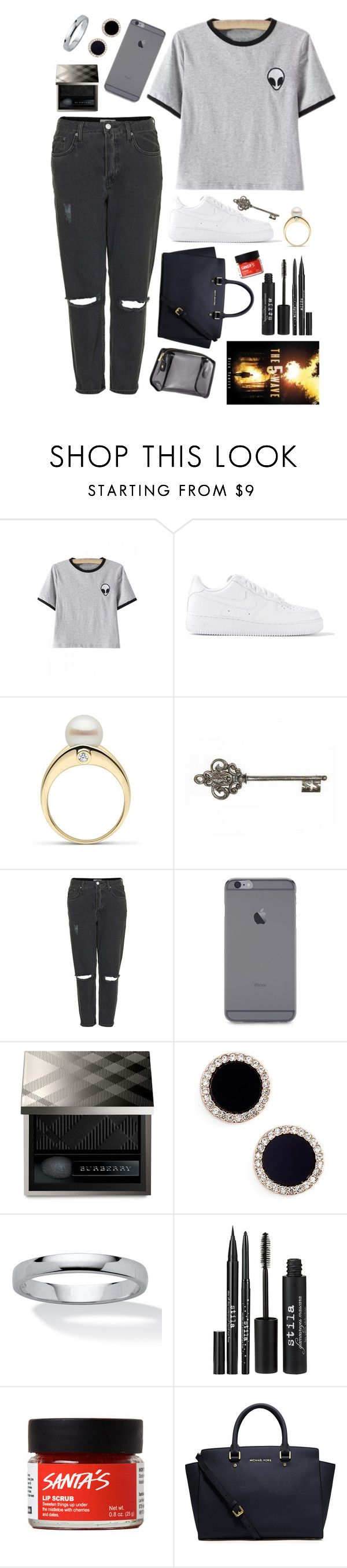 """Description"" by mrs-nick-robinson ❤ liked on Polyvore featuring NIKE, Topshop, Burberry, Kate Spade, Palm Beach Jewelry, Stila, MICHAEL Michael Kors, H&M, women's clothing and women"