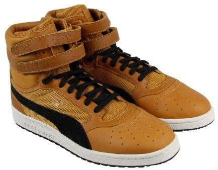 Puma Sky Ii Hi Color Blocked Inca Gold Black Mens High Top Sneakers