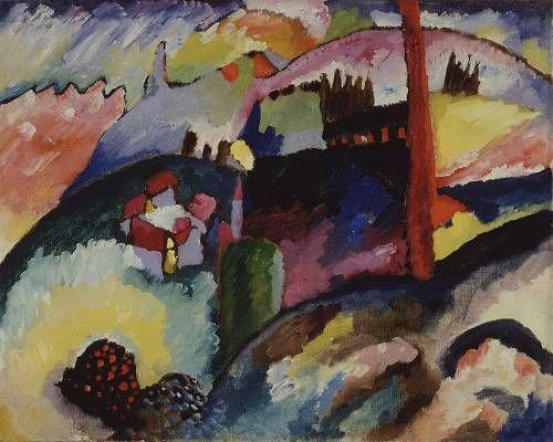 Wassily Kandinsky, Paysage avec une Chemine d'Usine (1910) = cheminée ce confond avec cloché d'église = FORCE DU MOTIF REPETE + il se sépare du référant = AMENE A L'ABSTRACTION