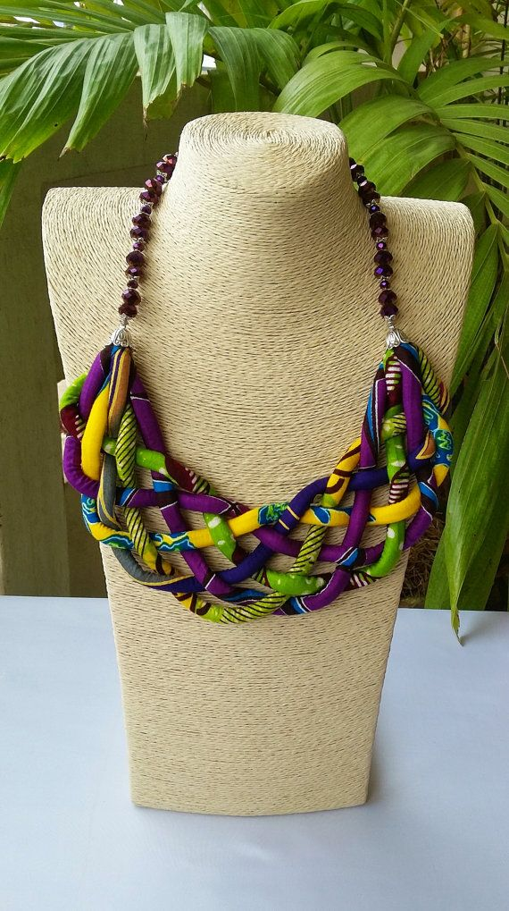 African Print Jewelry Purple and Green by AfrogenicCollections