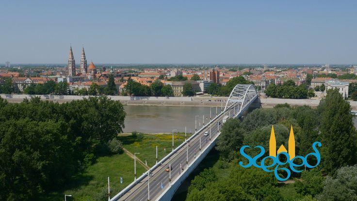 Szeged madártávlatból,  UHD 4K légi felvétel a napfény városáról
