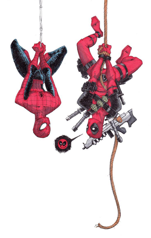 Deadpool and Spiderman by PurpleMerkle.deviantart.com on @deviantART