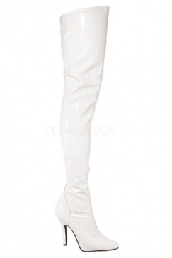 White over the knee stretch boots