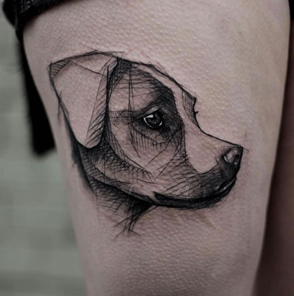 Sketch Style Dog Tattoo by Kamil Mokot