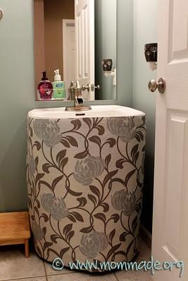 Beautiful Pedestal Sink Skirt Mommade With Sink Skirt.