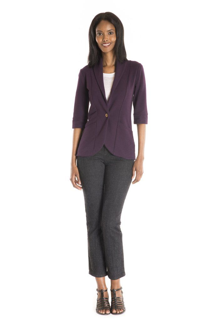 The Trifolium Cardigan Solid 3/4 - women's spring summer fashion purple bamboo jersey cardigan