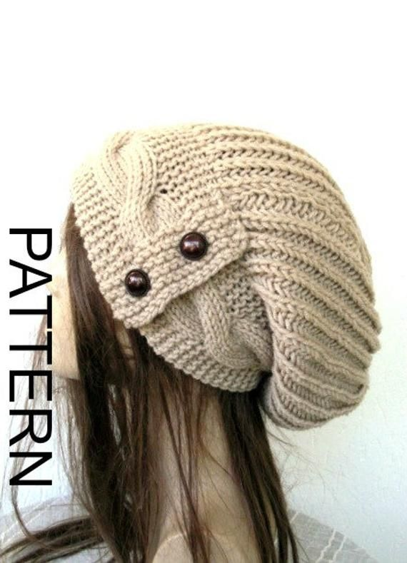 Slouchy Hat 3 Sizes  Knitting PATTERN  Instant Download Knitting  pattern  Cable Knit hat  Pattern