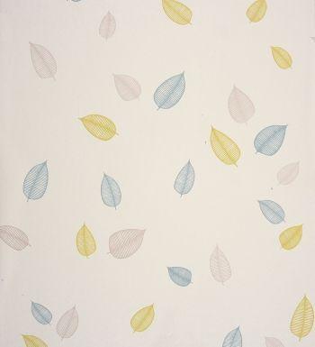Papel pintado hojas modernas rayadas lima y azules - 2018807