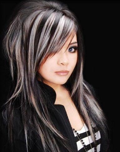 blak+hair+with+blonde+highlights   Black Hair and Platinum Blonde Highlights 2014   Hair highlights 2014