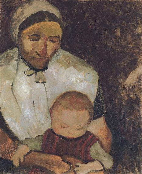 Paula Modersohn-Becker - Figurative Painting - German Expressionism - Woman & Child on her knees - Sitzende Bäuerin mit Kind auf dem Schoss