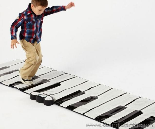 Kids and adults both alike can now combine physical activity with musical creativity using the giant electronic floor mat piano. All you need to do is walk on the giant keys to make some music. It has 24-key keyboard with adjustable volume and 8 keyboard instruments. An incredible gift for aspiring young musicians. Includes record, playback and demo modes. Requires four AA batteries.