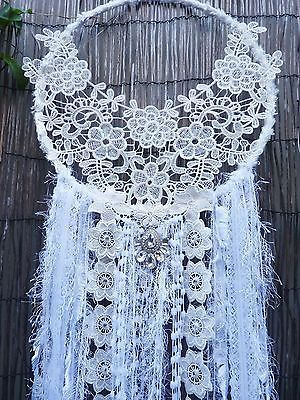 HANDMADE LARGE BOHO WHITE FLORAL GLITTER DREAM CATCHER WALL HANGING