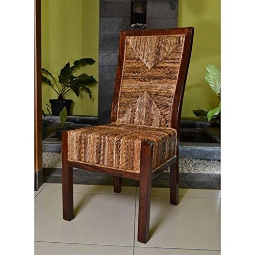 International Caravan Bali Dallas Woven Abaca Dining Side Chair - Set of 2. 24W x 19D x 40H in. Gorgeous mahogany frame. Beautiful Dallas hand-woven abaca leaf style. Finished with a natural mahogany stain. Includes 2 dining chairs.