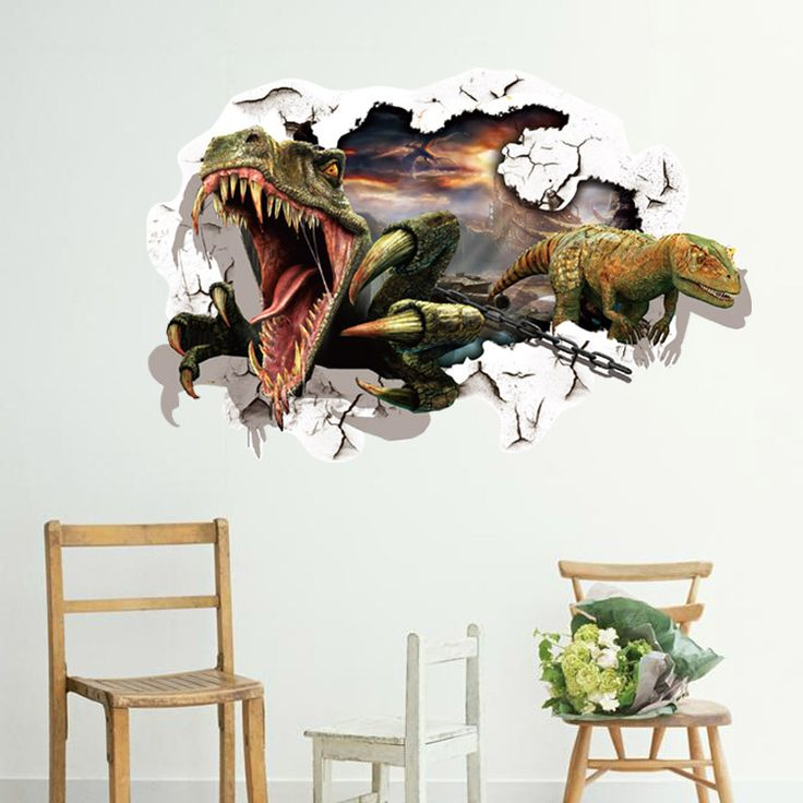 3D Jurassic World Park Dinosaurs Wall Stickers for Kids Rooms Boys Decoration Dinossauro Wall Decals Anime Poster Wallpaper Kids