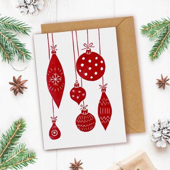 4 Linocut Christmas Cards Linocut Xmas Cards Unique Christmas