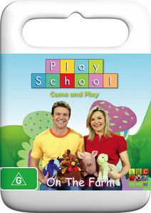 """Play School - On the Farm DVD. There is so much to explore on the farm as Justine and Matt set up a play farm, real sheep come to visit us at Play School and the toys enjoy a game of cricket. Sing along to """"Old McDonald"""", """"Little Boy Blue"""", """"Baa Baa Black Sheep"""" and many more of your favourite songs with Play School presenters Justine, Karen and Matt. $9.99"""
