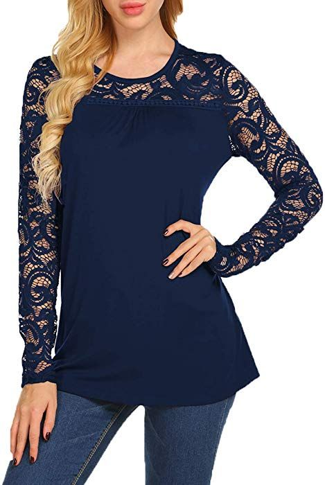 BLUETIME Women s Tops Long Sleeve Lace O Neck A-Line Tunic Tops (S ... 9f00f38bc