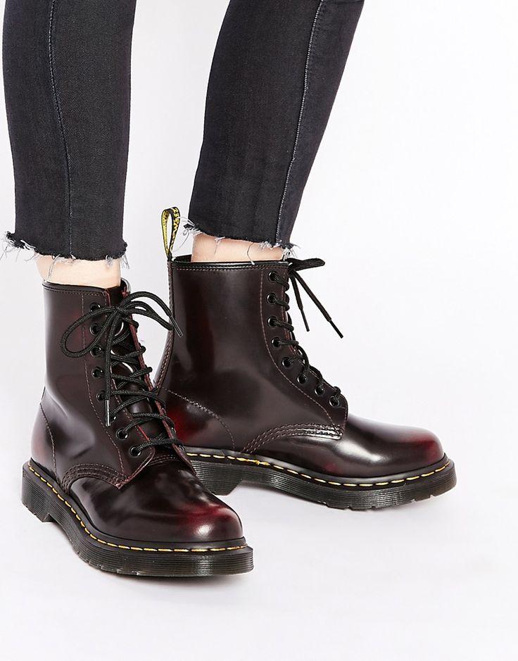 Dr Martens – 1460 Arcadia – Flache Schuhe mit 8-Ösen-Schnürung in Kirschrot