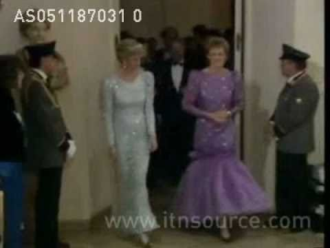 Princess Diana in Munich, Germany: Diana visits a school where handicapped and able-bodies children learn together. Later they both attend an official dinner at the house of Bavarian premier Franz Josef Strauss. 5.11.87