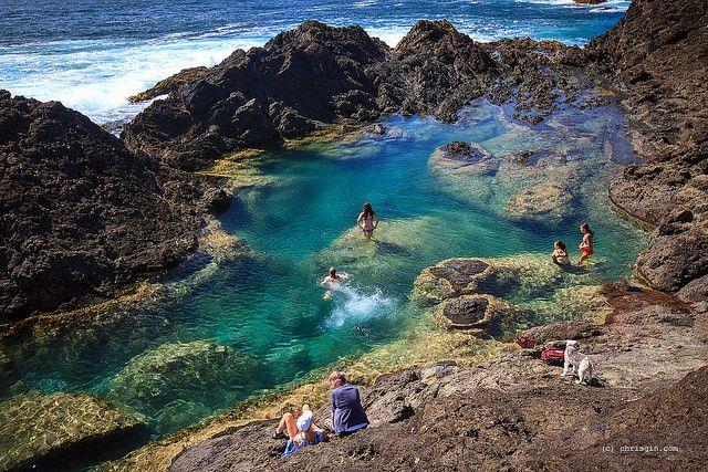 Mermaid Pools, Tutukaka, Northland, New Zealand. Norhland, golden sand azure oceans.