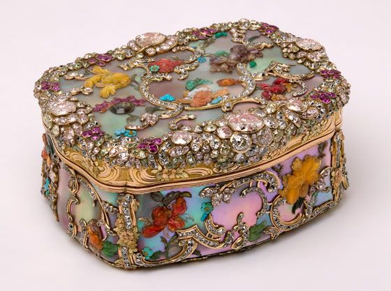 Jewelled mother of pearl snuffbox, commissioned by Frederick the Great of Prussia. It was made in Berlin around 1765, possibly by Daniel Baudesson, and is notable for the variety of jewels, hardstones and precious and semi-precious materials used in its construction and decoration.