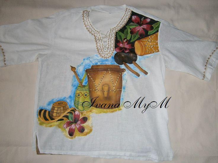 Camisa Indú pintada a mano 100%