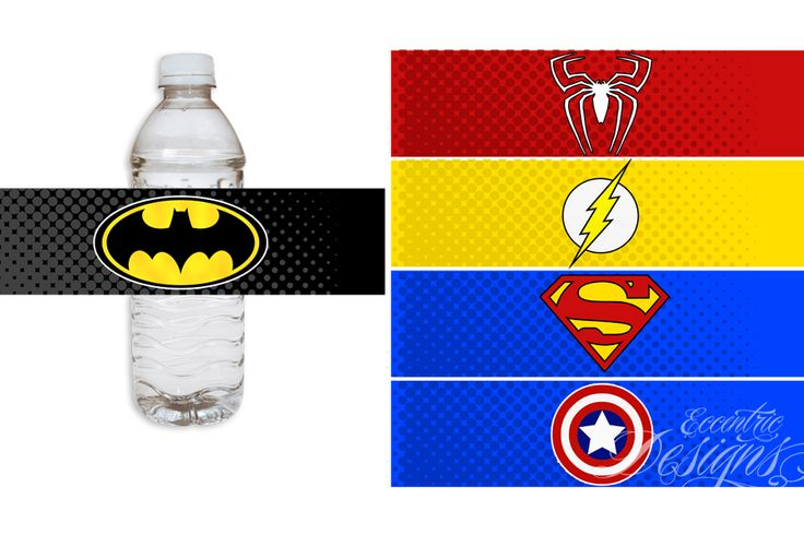 Superhero Birthday Party - Water Bottle or Soda Pop Labels (Batman, Spiderman, Flash, Superman, Captain America) / Superhero Party / Superhero Party Theme / Superhero Party Ideas / Superhero Party Favors / Superhero Birthday / Superhero Birthday Party Theme / DIY Superhero Party Ideas
