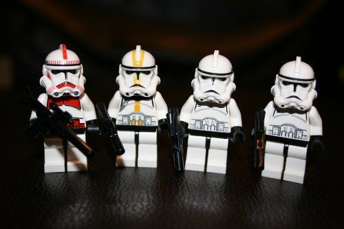 Lego Clone Trooper Minifigure Lot of 4 Star Wars Red Clone Trooper1 Yellow Clone Trooper and 2 White Clone Troopers Includes 1 Large Blaster Rifle and 3 Small Blasters ** Check out this great product.