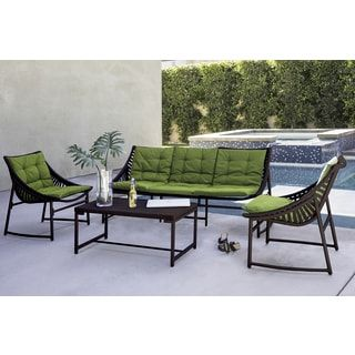 Shop for Handy Living Nico Indoor/Outdoor 4 Piece Dark Brown Sling Set with Cilantro Sunbrella Cushions. Get free delivery at Overstock.com - Your Online Garden & Patio Shop! Get 5% in rewards with Club O! - 22653831