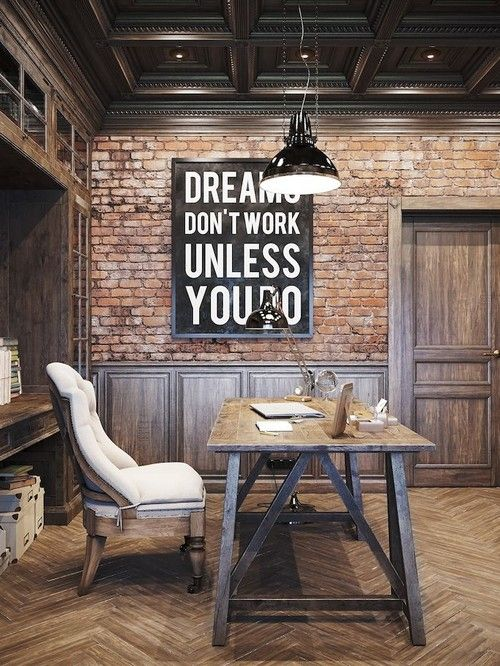 20 Interiors that Actually Inspire. Pinterio.com Earthy rustic home office design incorporating lots of timber exposed brick industrial lighting and paneling love the addition of the cream upholstered seating contrasts beautifully with the surrounds