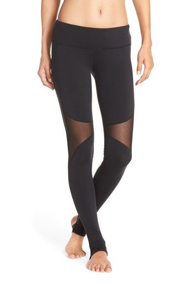 Free shipping and returns on Alo 'Coast' Mesh Inset Stirrup Leggings at Nordstrom.com. Sheer mesh insets vent excess heat where you need it most in these sleek workout leggings crafted with stirrup feet for a secure, comfortable fit.