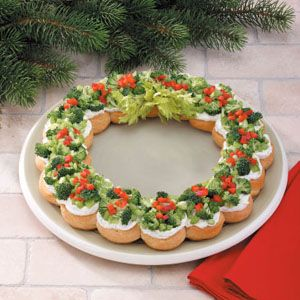 Great Christmas appetizer or breakfast if they were bagels with cream cheese and toppings instead of crescent rolls