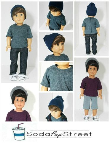 Soda Pop Street Boys Tee and Beanie Doll Clothes Pattern 18 Inch American Girl Dolls | Pixie Faire