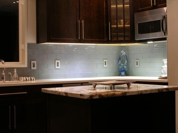 Subway Backsplash: Kitchens Design, Glasses Tile, Backsplash Ideas, Back Splash, Dark Cabinets, Glasses Subway Tile, Kitchens Backsplash, Tile Backsplash, Modern Kitchens
