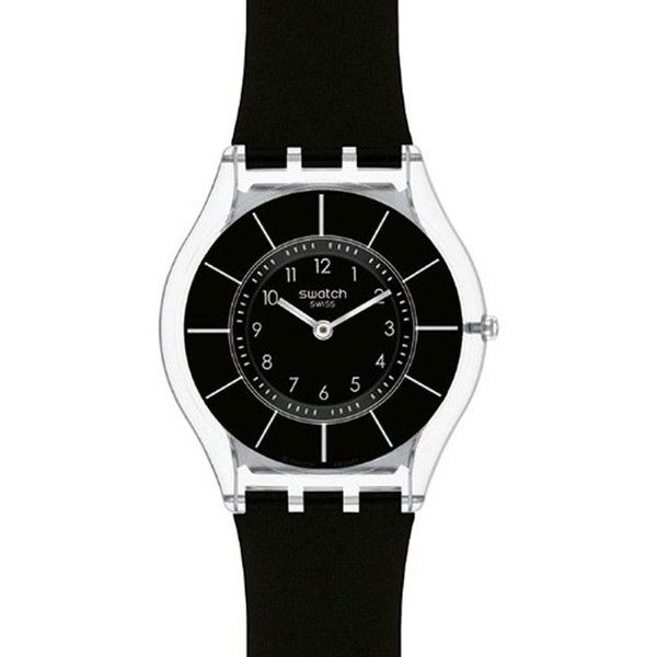 Swatch Women's Skin Black Silicone Swiss Quartz Watch ($100) ❤ liked on Polyvore featuring jewelry, watches, black, crown jewelry, swatch jewelry, silicone strap watches, swatch watches and silicone watches