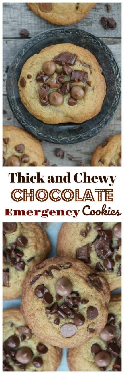 Thick and Chewy Chocolate Emergency Cookies - #chocolate #chocolatechip #thick #chewy #cookies #chocoholic